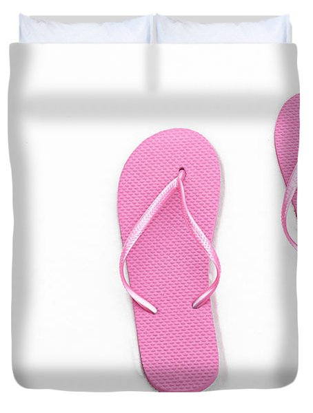 Where On Earth Is Spring - My Pink Flip Flops Are Waiting Duvet Cover by Andee Design