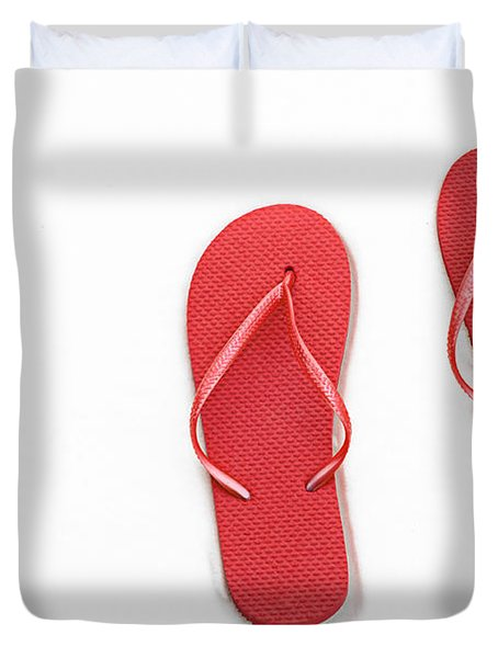 Where On Earth Is Spring - My Red Flip Flops Are Waiting Duvet Cover by Andee Design