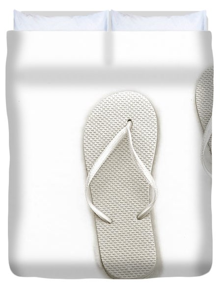 Where On Earth Is Spring - My Silver Flip Flops Are Waiting Duvet Cover by Andee Design