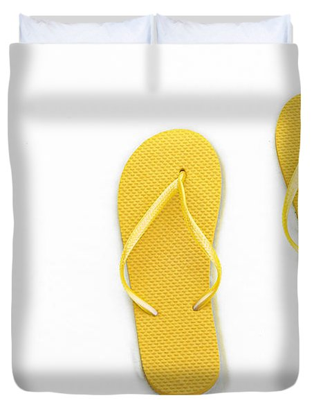 Where On Earth Is Spring - My Yellow Flip Flops Are Waiting Duvet Cover by Andee Design