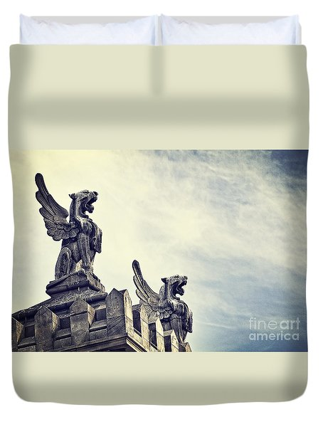 Where The Lions Roar Duvet Cover by Ivy Ho