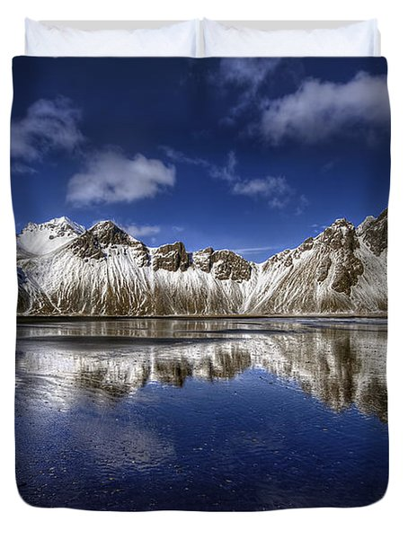 Where The Mountains Meet The Sky Duvet Cover by Evelina Kremsdorf