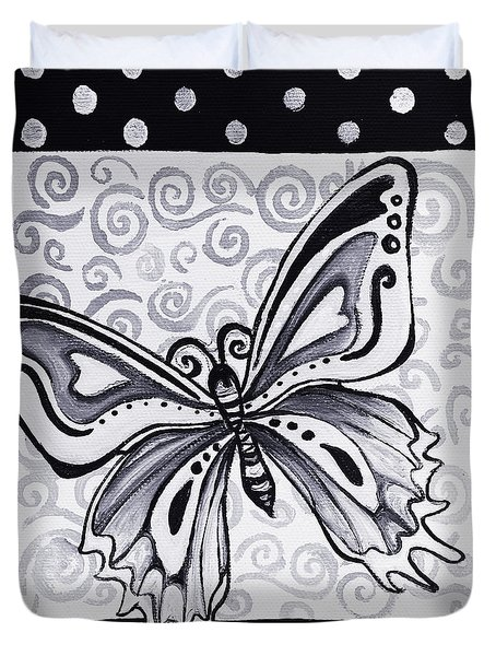 Whimsical Black And White Butterfly Original Painting Decorative Contemporary Art By Madart Studios Duvet Cover by Megan Duncanson