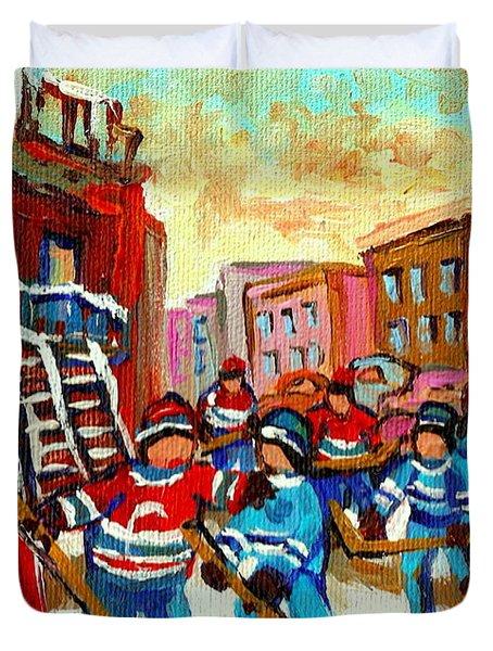 Whimsical Hockey Art Snow Day In Montreal Winter Urban Landscape City Scene Painting Carole Spandau Duvet Cover by Carole Spandau