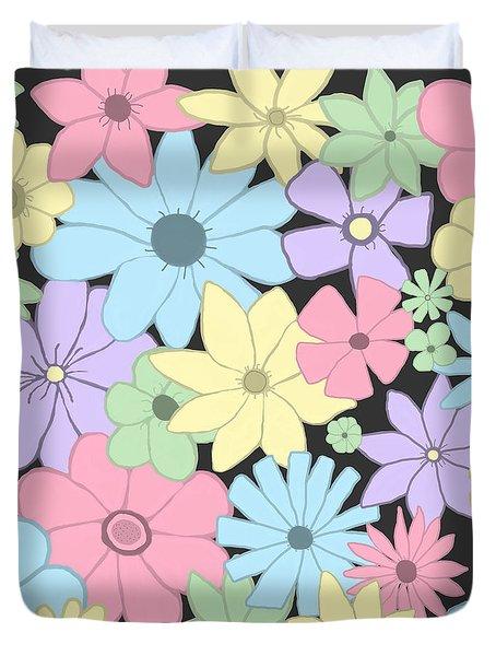 Whimsical Pastel Flowers Duvet Cover