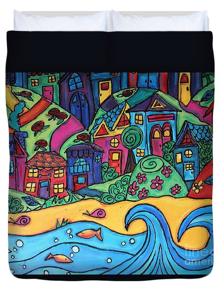 Whimsical Town Sectional  Duvet Cover