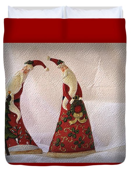 Duvet Cover featuring the photograph Whimsical Santas by Nadalyn Larsen