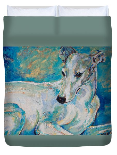 Whippet-effects Of Gravity 4 Duvet Cover by Derrick Higgins
