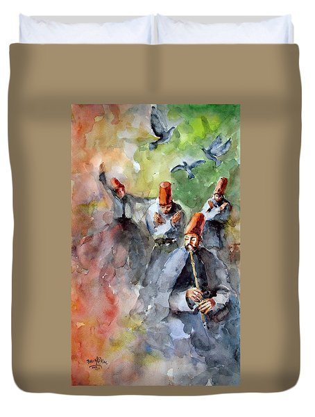 Whirling Dervishes And Pigeons         Duvet Cover