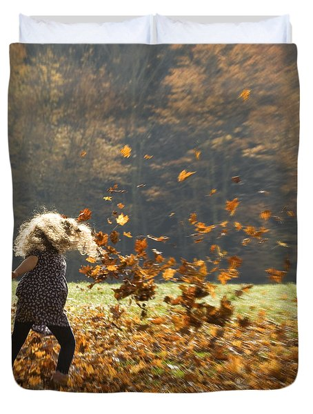 Duvet Cover featuring the photograph Whirling With Leaves by Carol Lynn Coronios