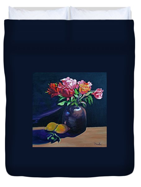 Whiskey Jug Roses With Lemons Duvet Cover