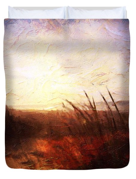 Whispering Shores By M.a Duvet Cover