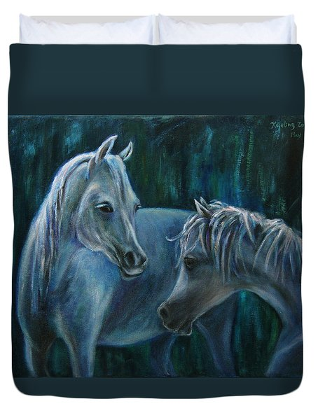 Duvet Cover featuring the painting Whispering... by Xueling Zou