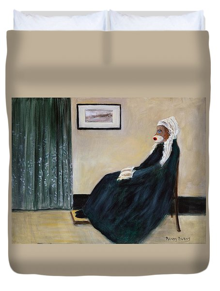 Duvet Cover featuring the painting Whistlin Mother by Randol Burns