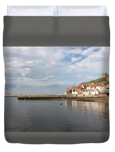 Duvet Cover featuring the photograph Whitby Abbey N.e Yorkshire by Jean Walker