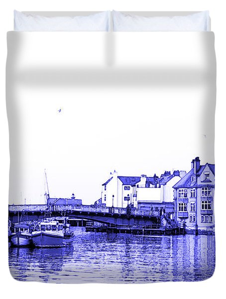 Duvet Cover featuring the photograph Whitby Harbor by Jane McIlroy