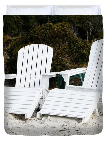 White Adirondack Chairs In The Sand Duvet Cover by Thomas Marchessault