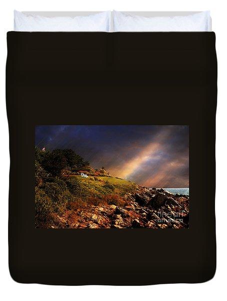 White Adirondacks Duvet Cover by Lois Bryan