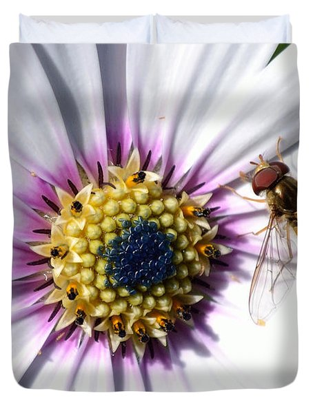 Duvet Cover featuring the photograph White African Daisy Marmalade Fly by Scott Lyons