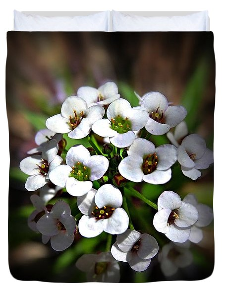 Duvet Cover featuring the photograph White Alyssium by Nick Kloepping