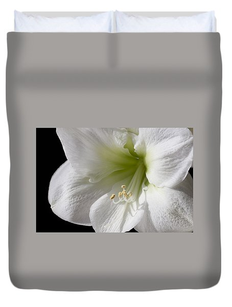 White Amaryllis Duvet Cover