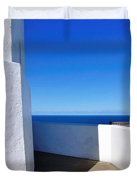 White And Blue To Ocean View Duvet Cover by Kaye Menner