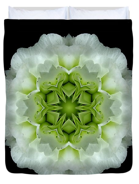 White And Green Begonia Flower Mandala Duvet Cover by David J Bookbinder