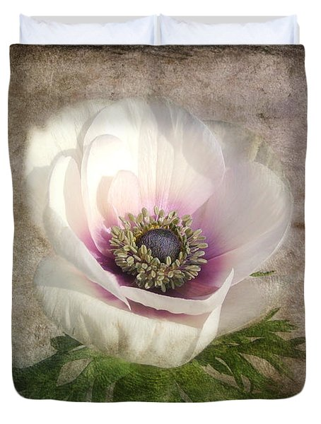 Duvet Cover featuring the photograph White Anemone by Barbara Orenya