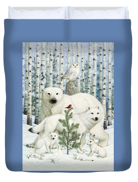 White Animals Red Bird Duvet Cover