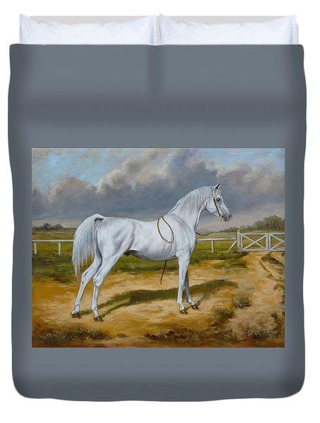 White Arabian Stallion Duvet Cover