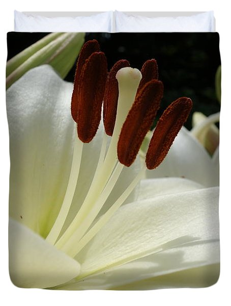 White Asiatic Lily Duvet Cover