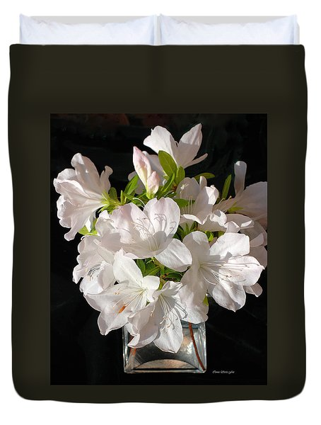 White Azalea Bouquet In Glass Vase Duvet Cover by Connie Fox