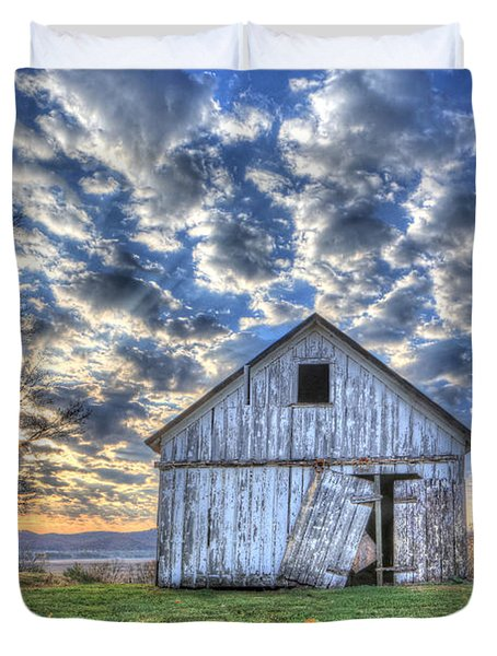 Duvet Cover featuring the photograph White Barn At Sunrise by Jaki Miller