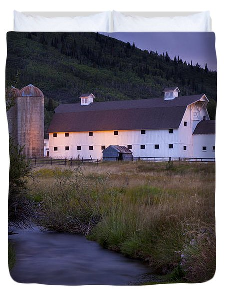 Duvet Cover featuring the photograph White Barn by Brian Jannsen