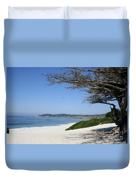 White Beach At Carmel Duvet Cover