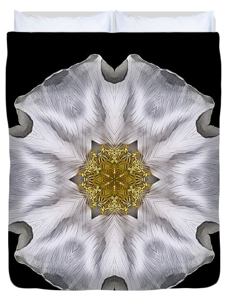 White Beach Rose I Flower Mandala Duvet Cover