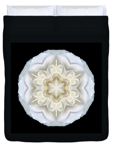 White Begonia II Flower Mandala Duvet Cover