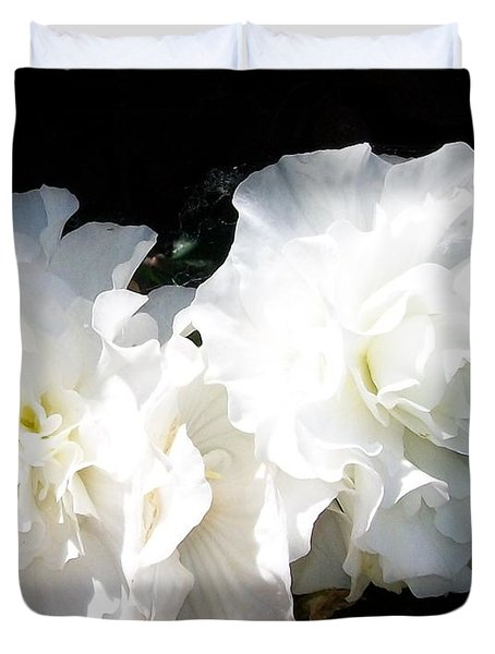 White Begonia  Duvet Cover