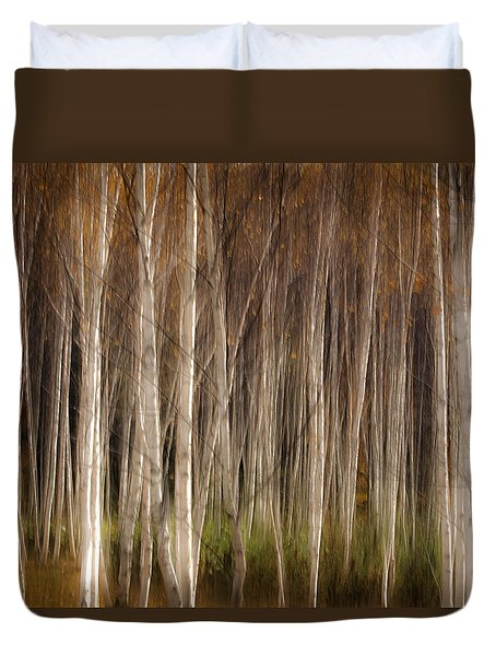 White Birch Abstract Duvet Cover