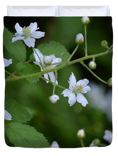 White Blackberry Flowers Duvet Cover