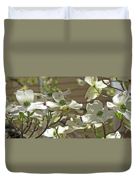 White Blossoms Duvet Cover by Barbara McDevitt