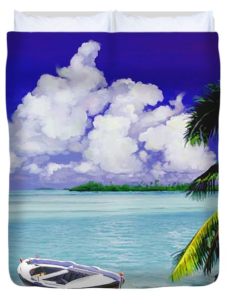 White Boat On A Tropical Island Duvet Cover