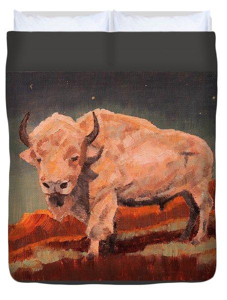 White Buffalo Nocturne Duvet Cover