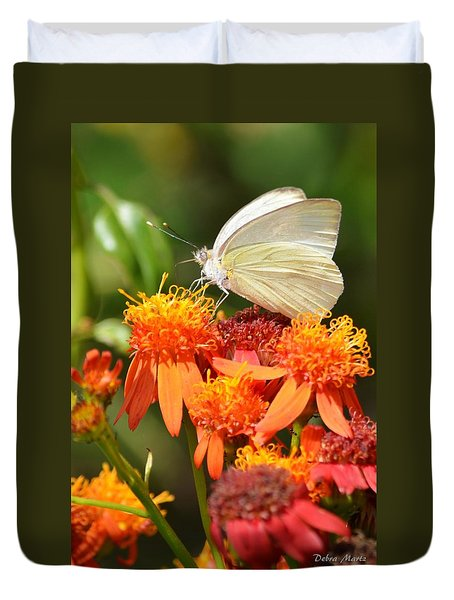 White Butterfly On Mexican Flame Duvet Cover