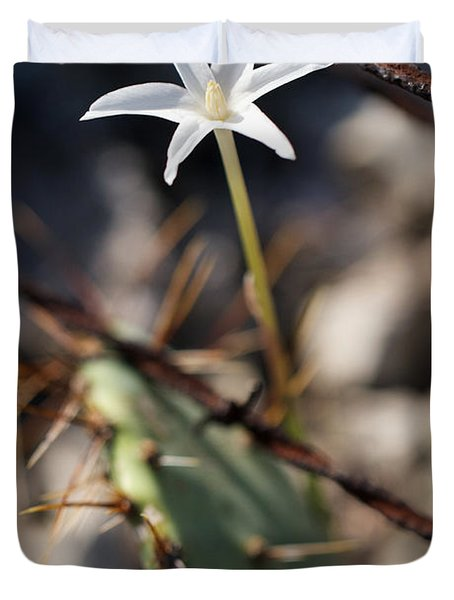 Duvet Cover featuring the photograph White Cactus Flower by Erika Weber