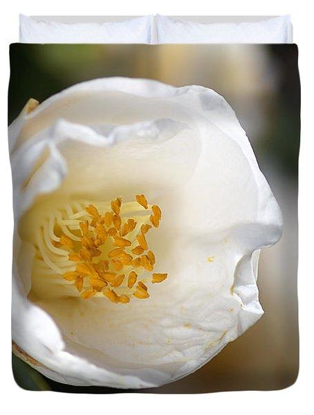White Camellia  Duvet Cover by Joy Watson