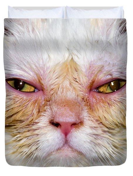 Scary White Cat Duvet Cover