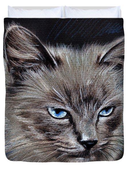 White Cat Portrait Duvet Cover