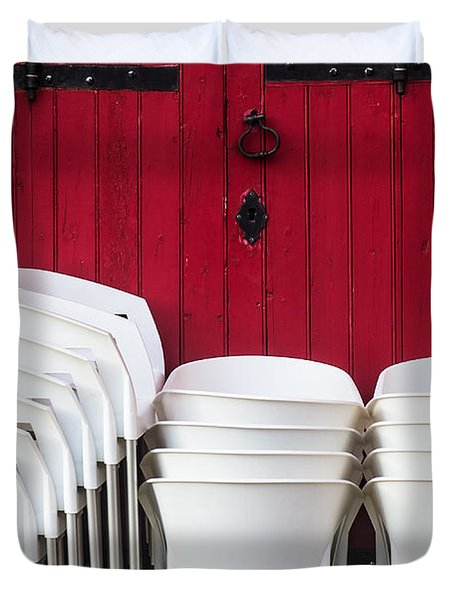 White Chairs Duvet Cover