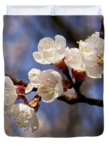 White Cherry Blossoms Duvet Cover